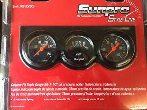 "Mini Triple  Gauge Set 1 1/2"" Hot  Rod Kit Car Motorsports Uk No Duty's"