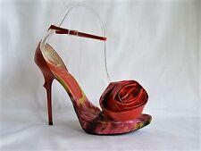 Roger Vivier Red Patent Rose Ankle Strap Pumps Print Platform Thorn Heel 38