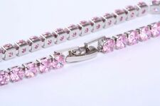 Pink lab Diamond 16ct TW Tennis Bracelet Rhodium Plate - Sterling Silver - #127