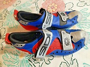 SIDI T-1 Cycling Shoes, Size 40; Silver, red, blue - VG Condition - T1 Triathlon