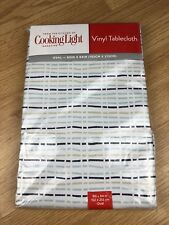 """NEW Cooking Light Vinyl Tablecloth 60"""" x 84"""" Oval Sketched Stripe Grey Seats 6-8"""