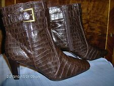 PREDICTIONS LADIES BROWN FAUX GATOR HIGH HEELED BOOTS