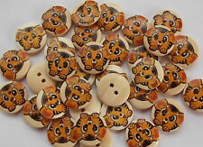 30 x TIGER 2 HOLE WOODEN 18mm SEWING BUTTONS, SCRAPBOOKING, CRAFT ETC.,