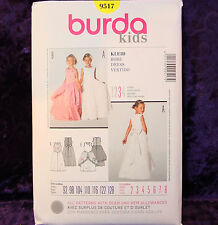 Burda 9517 Girl's Formal Long Dress Pattern size 2-8 Euro sz 92-128 NEW