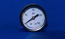 """Air Compressor Pressure Gauge 1/8"""" Brass NPT Back Mount 160 PSI 1.5"""" Black Case"""