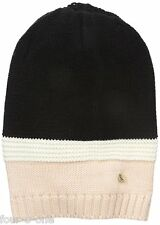 Armani Jeans Women's Color Block Beanie Black Three Tone Small
