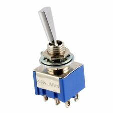 NEW ON-ON-ON 3-way DPDT Mini Toggle Switch Flat Lever for Guitar or Bass CHROME