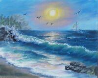 """Art,10""""×8""""oil hand painting,varnished sunset,seascape,landscape,surf,marine"""