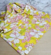 Vintage Flat Full Sheet Unbranded Floral Yellow Pink Green Euc Retro 70s
