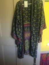 100% silk wrap dress or robe, long, Japanese style sleeves, M/L, NWT