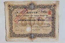Aktie Dresdner Gardinen- und Spitzen-Manufaktur Dresden Dobritz 500 Mark 1885