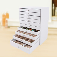 Style Jewellery Box Earrings Drawer Organiser Leather Chest Plain White Storage