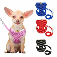 Soft Breathable Padded Cat Dog Harness & Leash for Small Dog Puppy Kitten S L