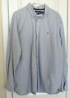 Ralph Lauren Mens Polo Denim Blue Button Front Shirt Classic Fit Sz XXL 2XL EUC