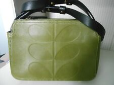 Orla Kiely stem green leather cross body bag zip top