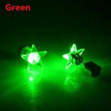 Fashion Unisex Punk LED Star Light up Glowing Blinking Ear Stud Earring Jewelry Green