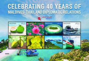 Maldives Stamps 2019 MNH Dipl Relations JIS Thailand Boats Flowers Fruits 8v M/S