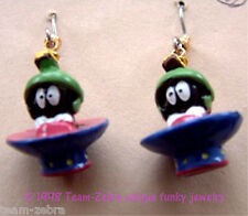 Funky MARVIN MARTIAN EARRINGS-Looney Tunes UFO Alien Mini Figure Costume Jewelry