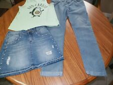 Girls Justice & Kensie Size 12 3Piece Lot Justice Skirt & Top Kensie Jeans Euc
