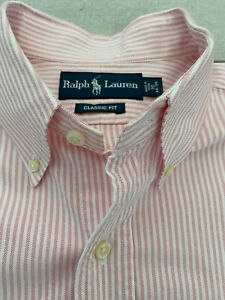 Polo Ralph Lauren New Pink White Stripe Cotton Shirt Oxford Large 16 Classic Fit