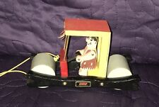 BRIO  FLINTSTONES CAR  WOODE  PULL TOY  C. 1962  HANNA BARBERA  FRED FLINTSTONE