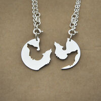 STERLING SILVER WOLF NECKLACE RELATIONSHIP HIS AND HER INTERLOCKING NECKLACES