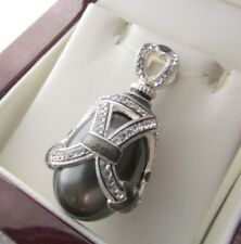 BLACK PEARL PENDANT HANDMADE RUSSIAN SOLID STERLING SILVER 925 GORGEOUS QUALITY