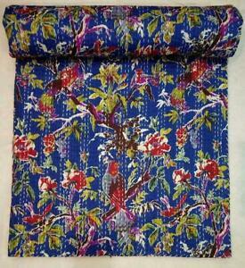 Blue Indian Handmade Bird Kantha Quilt Block Print Bedspread Queen/Twin Size
