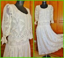 Vtg 70s Sheer Crochet Ivory LACE Prairie Edwardian Wedding Boho Party Midi DRESS