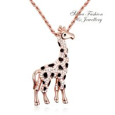 18K Rose Gold Filled Simulated Diamond Studded Animal Of Giraffe Necklace