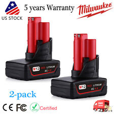 2PCS 12V Lithium Battery For Milwaukee 48-11-2440 M12 Fuel Impact Drill XC 4.0AH