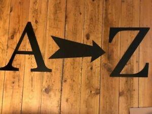 "Vintage Industrial Black Metal  Large 12"" Alphabet Letters - A to Z"
