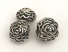 Rose Flower Clip Lock Stopper Charm For Bracelets Silver Plated 1pc