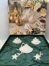 Vintage Margaret Furlong 1990 Shell Christmas Ornaments 2 Stars And 3 Angels