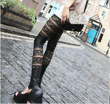 Sexy Faux Leather Retro Gothic Punk Style Lace-Up Leggings Pants