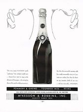 1934 BIG Original Vintage Pommery Greno Reims Champagne Wine Bottle Art Print Ad