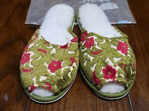 Vintage 50's/60's Women's Dearfoams Foam Cushioned Floral Slippers Green Red L