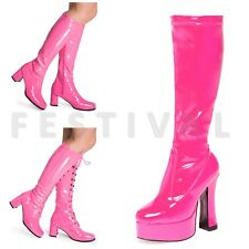 Womens Ladies Fancy Dress 60's 70's Knee High Eyelet Platform Disco go go boots