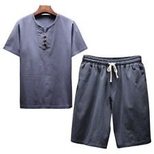 2pcs/set Mens Fashion Suit Linen Cotton Crew Neck Casual Shirts+Short Pants HOT
