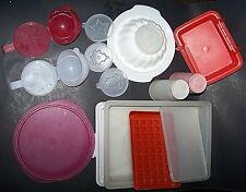 Vintage Tupperware Lot 17 pieces cake carrier glasses onion keepers bowls & MORE