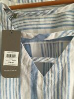 16 LINEN W.LANE WHITE STRIPE BLOUSE SHORT RAGLAN SLEEVES V DETAILED NECK NWT $32