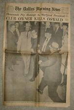ORIGINAL 1963 LEE HARVEY OSWALD JOHN F. KENNEDY DALLAS MORNING NEWS NEWSPAPER