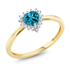 10K Two-Tone Gold 5mm London Blue Topaz and Diamond Heart Shape Ring