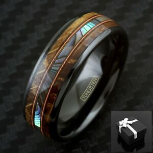 8mm Black Tungsten Whiskey Barrel Wood w/ Abalone & Dual Piano String Men's Ring