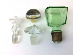 Mixed Vintage Lot Used Green & Clear Glass Bottle Tops Toppers Stoppers