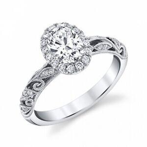 1.6 CT Oval Diamond Vintage Milgrain Filigree Swirls Engagement Ring Gold Over