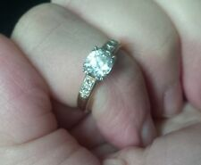 Estate 14K Gold Engagement Ring with Natural White Zircons! Size 7!