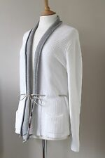 FABIANA FILIPPI white cotton knit cardigan sweater Size UK14-16