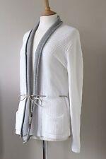 FABIANA FILIPPI Blanco Algodón Tejido Cardigan Sweater Talla UK14-16