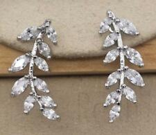 18K White Gold Filled - Leaf Eye Style Topaz Women Bride U-Design Gems Earrings